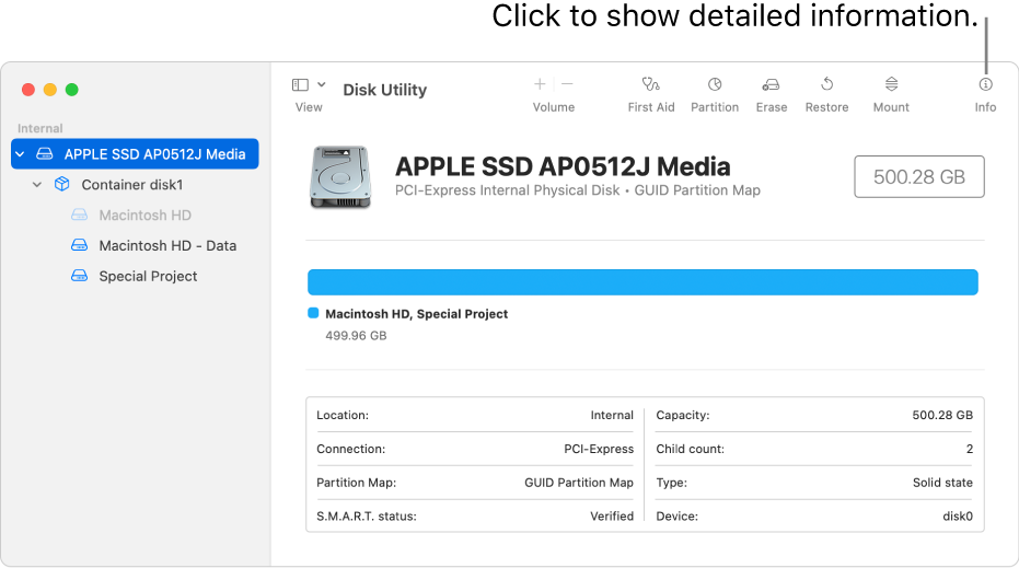 A Disk Utility window showing a storage device selected in the sidebar and information about the device displayed on the right.