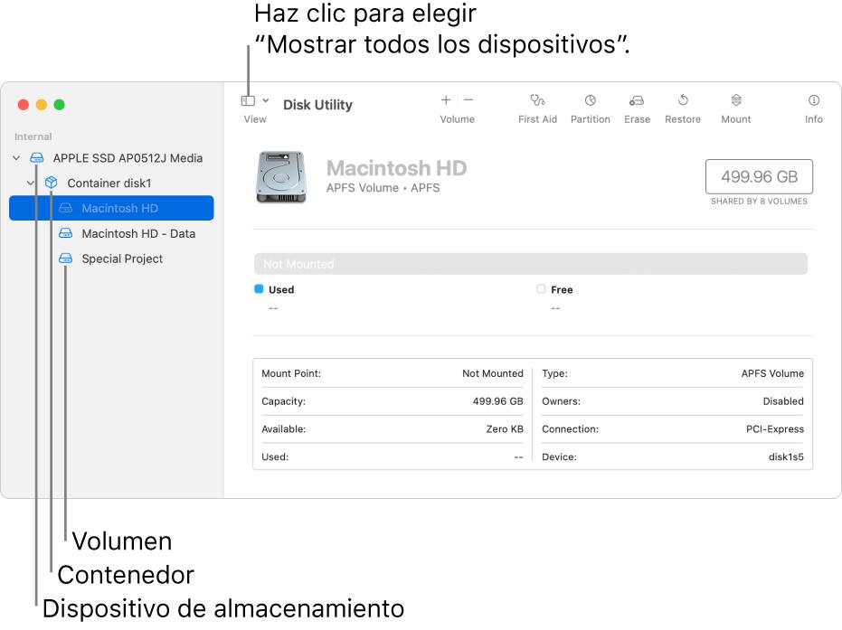 """La ventana Utilidad de Discos con la visualización """"Mostrar todos los dispositivos""""."""