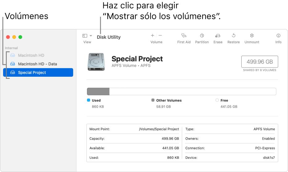 """La ventana Utilidad de Discos con la visualización """"Mostrar sólo los volúmenes""""."""