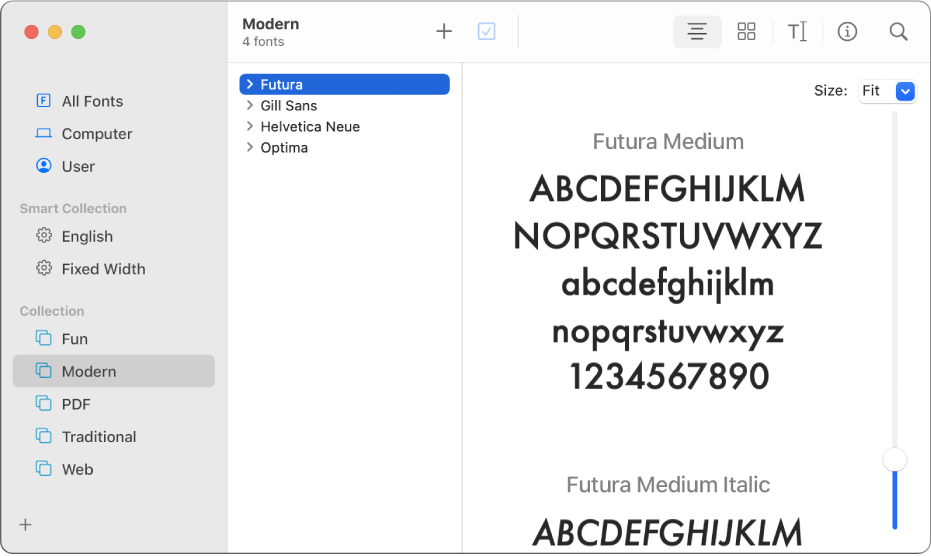 The Font Book window showing the fonts included in the Modern font collection.