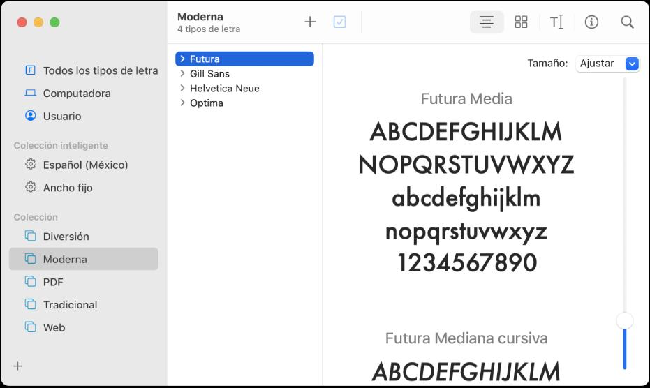 Ventana de Catálogo Tipográfico mostrando los tipos de letra incluidos en la colección Moderna.