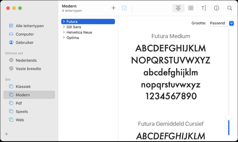 Het venster van Lettertypecatalogus met de lettertypen in de lettertypeset 'Modern'.