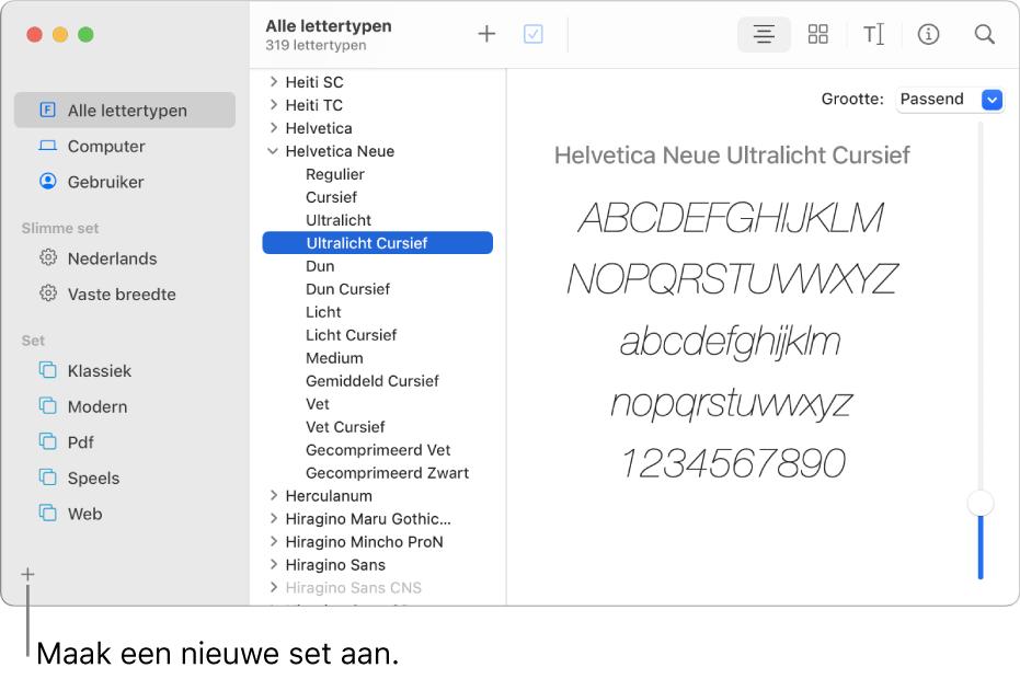 Het venster van Lettertypecatalogus met linksonderaan de knop met het plusteken voor het aanmaken van een nieuwe set.