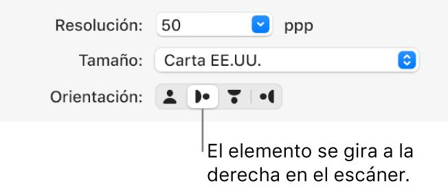 Los botones Orientación en la ventana de Escáner. Un botón resaltado indica que se giró un elemento a la derecha en el escáner.