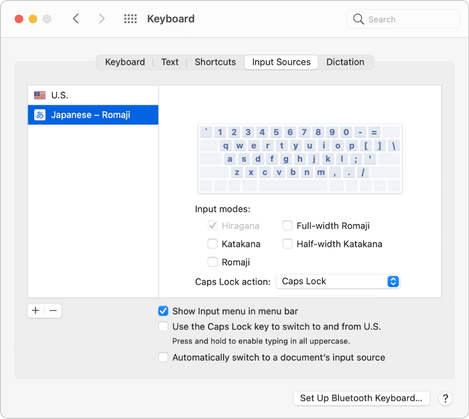 The Input Sources pane of Keyboard preferences, where you can add or remove input sources for different languages (U.S. and Japanese – Romaji are shown in the list on the left) and select other options.