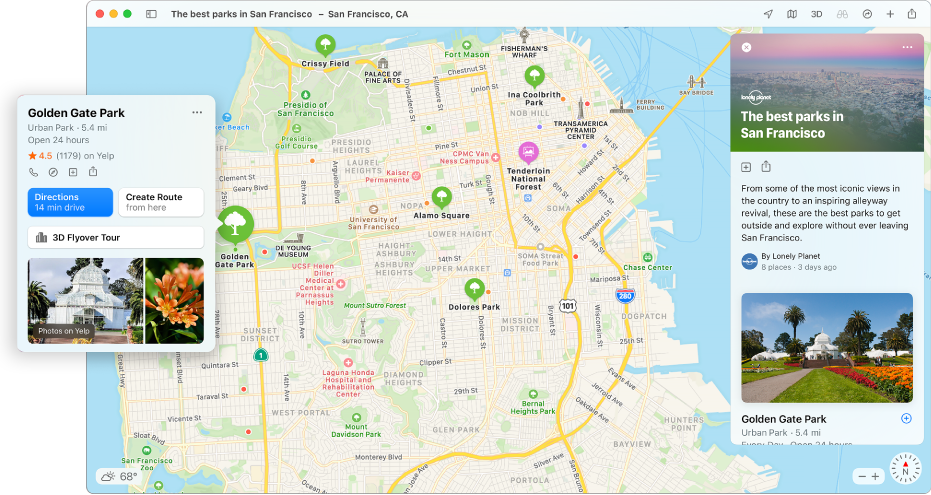 A map of San Francisco showing Guides to popular attractions.