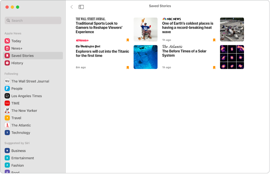 The Apple News window showing Saved Stories selected in the sidebar and four saved stories arranged in a grid on the right.