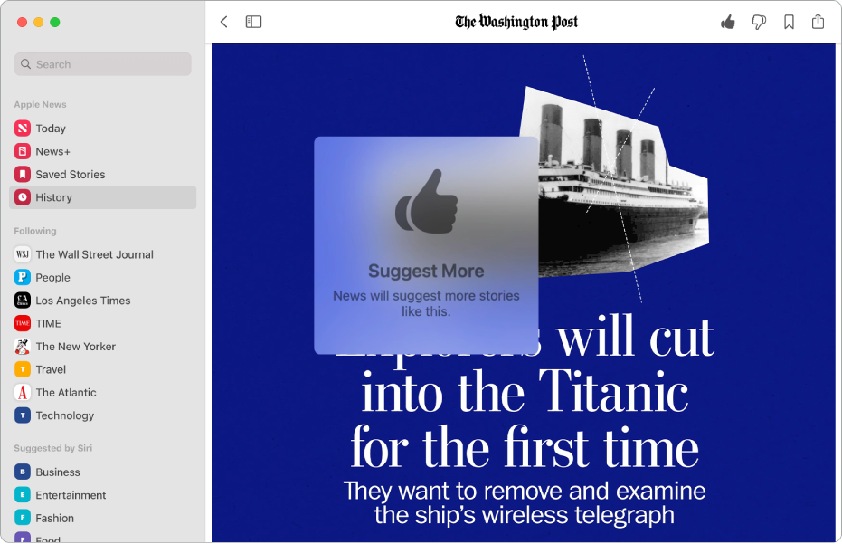 The Apple News window showing the sidebar on the left and a story on the right. The Suggest More button is selected in the toolbar and the Suggest More banner, displayed briefly when you click Suggest More, appears over the story.