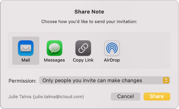 The Share Note dialog, where you can choose how to send the invitation to share a note.