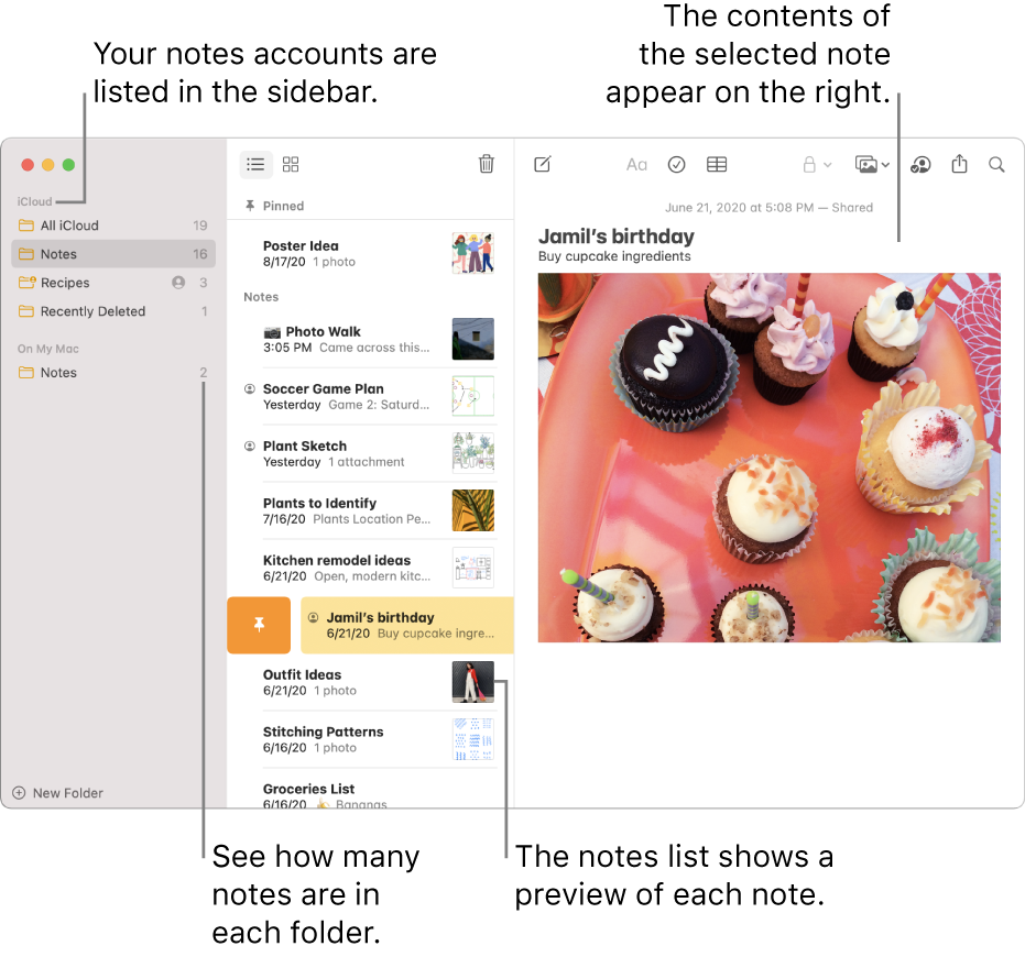 The Notes window with all your configured accounts and folders listed in the sidebar on the left, the list of notes in the middle showing a preview of each note, and the content of the selected note appearing on the right. The number of notes appears next to each folder.