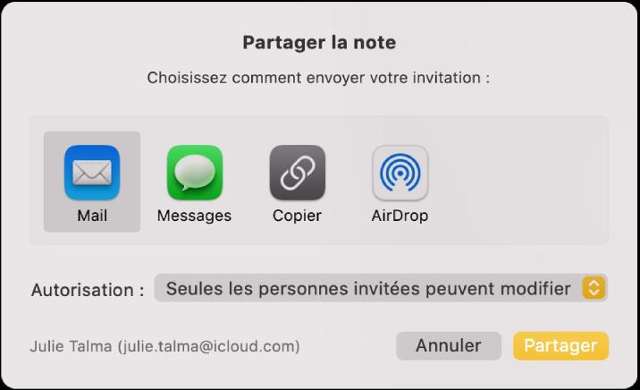 La zone de dialogue «Partager la note», à partir de laquelle vous pouvez déterminer comment inviter des personnes à partager une note.