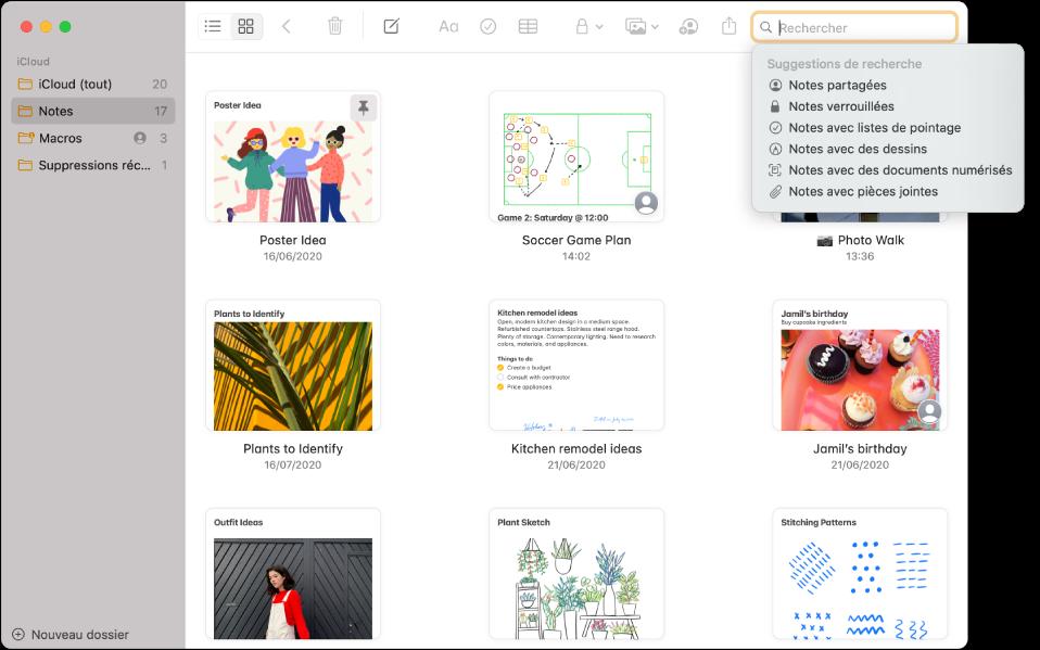 Notes en présentation par galerie, présentant le contenu de chaque note dans une vignette. Les suggestions de recherche s'affichent dans le coin supérieur droit, telles que les notes verrouillées et les notes avec pièces jointes.