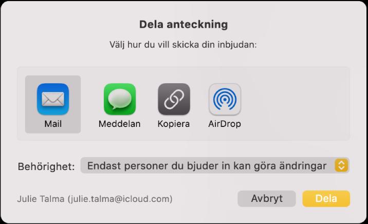 Dialogrutan Dela anteckning där du kan välja hur inbjudan ska skickas för att dela en anteckning.