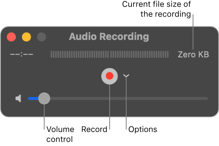 The Audio Recording window with the Record button and the Options pop-up menu in the center of the window, and the volume control at the bottom.