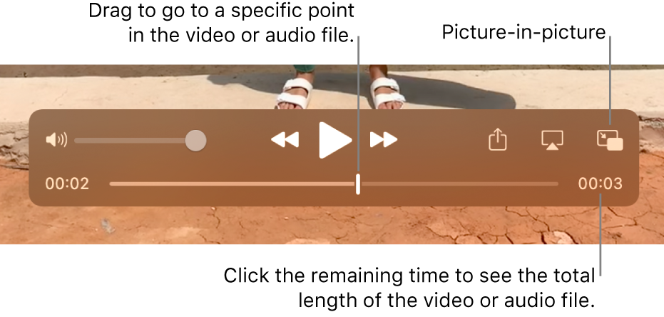 The QuickTime Player playback controls. Along the top are the volume control, the Rewind button, Play/Pause button, and Fast-Forward button. At the bottom is the playhead, which you can drag to go to a specific point in the file. The time remaining in the file appears at the bottom right.