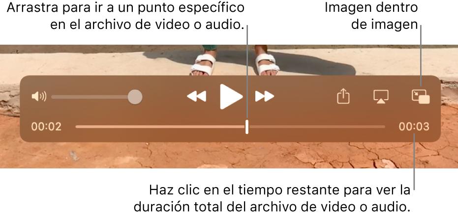 """Los controles de reproducción de QuickTime Player. En la parte superior se encuentran el control de volumen, el botón Retroceder, el botón """"Reproducir/Pausar"""" y el botón Avanzar. En la parte inferior se sitúa el cursor de reproducción que puede arrastrar para ir a un punto específico del archivo. El tiempo restante en el archivo aparece en la parte inferior."""