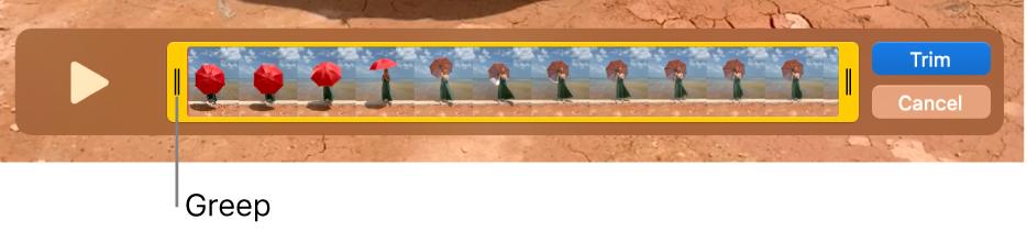 Een fragment in het venster van QuickTime Player, met een deel van het fragment tussen de gele grepen en de rest van het fragment buiten de gele grepen. Rechts staan de knoppen 'Kort in' en 'Annuleer'.