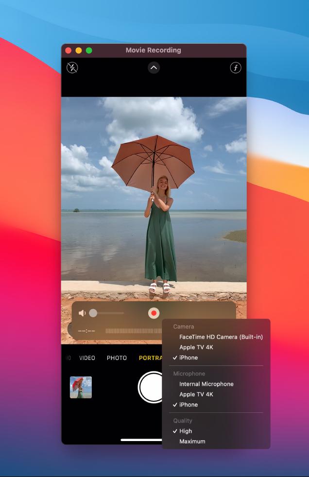 Okno aplikacji QuickTime Player na Macu podczas nagrywania za pomocą iPhone'a.