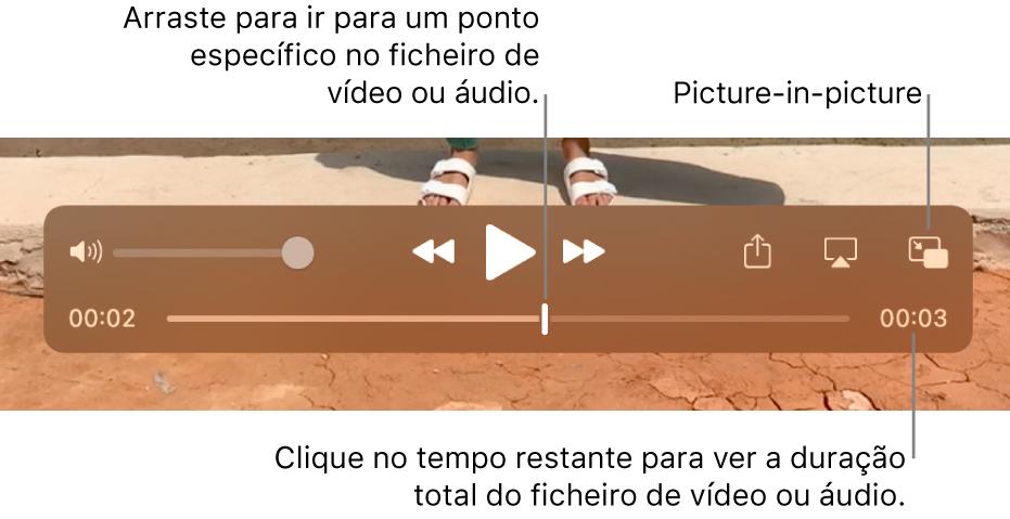"""Os controlos de reprodução do QuickTime Player. Na parte superior está o controlo de volume, o botão Retroceder, o botão """"Reproduzir/Pausar"""" e o botão """"Avanço rápido"""". O cursor de reprodução está na parte inferior, o qual pode arrastar para ir para um ponto específico no ficheiro. O tempo restante no ficheiro aparece na parte inferior direita."""
