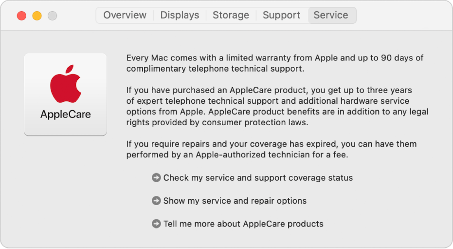 A Szolgáltatások panel a Rendszerinformációkban, melyen az AppleCare szolgáltatással kapcsolatos lehetőségek láthatóak.