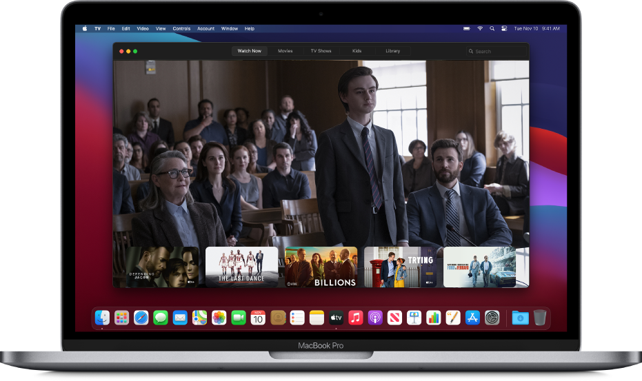The Apple TV app window in the background.