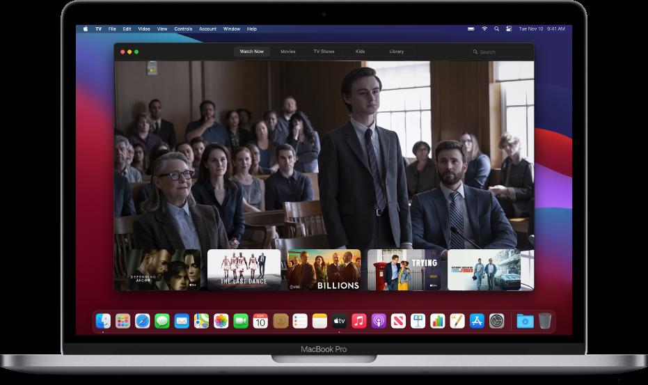 Het AppleTV-appvenster op de achtergrond.