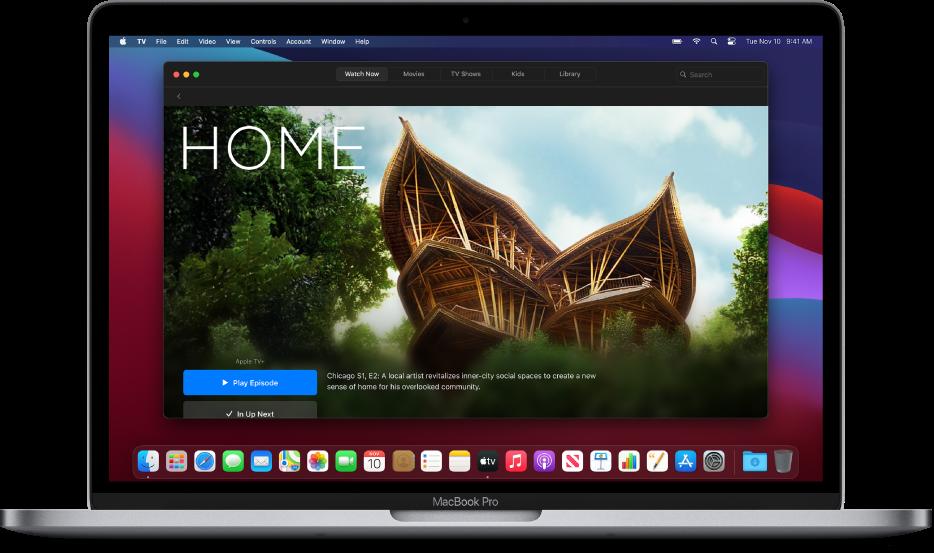 Het scherm 'Nu kijken' van de AppleTV-app.
