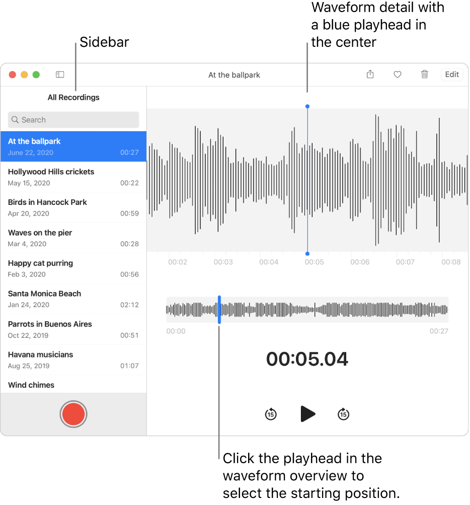 The Voice Memos app shows the sidebar on the left. The recording appears in the window to the right of the sidebar, as a waveform detail with a blue playhead in the center. Below it is the waveform overview. Click the playhead in the overview to select the starting position.