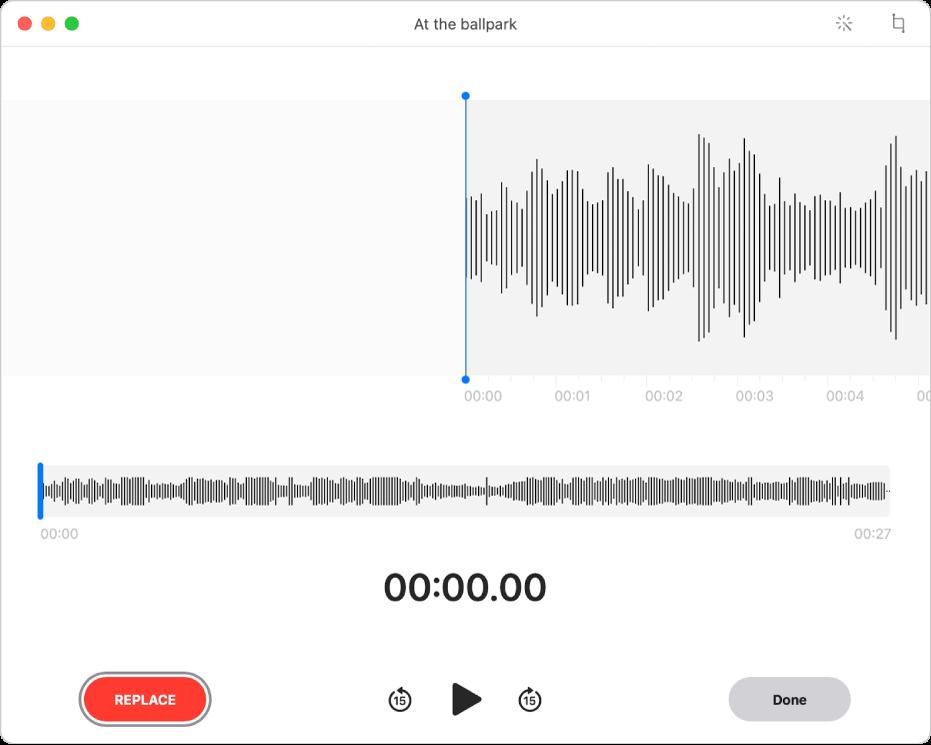 ボイスメモの録音。青色の縦線(再生ヘッド)を編集したい場所にドラッグします。新しいオーディオを録音して既存のオーディオを置き換えるには、左側の「再録音」ボタンをクリックします。余分なオーディオを削除するには、右上隅にある「トリミング」ボタンをクリックします。