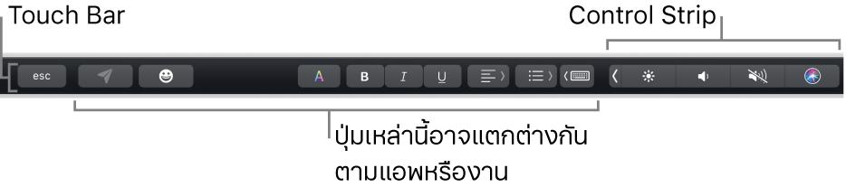 Touch Bar ที่อยู่ตามด้านบนสุดของแป้นพิมพ์ โดยแสดง Control Strip ที่ยุบอยู่ทางด้านขวา และปุ่มที่แตกต่างกันไปตามแอพหรืองาน