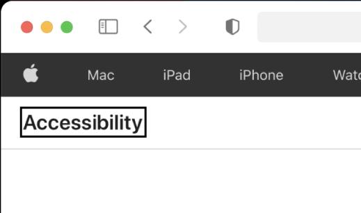 """مؤشر VoiceOver -مخطط مستطيل داكن- مركّز على كلمة """"إمكانية الوصول"""" على الشاشة."""