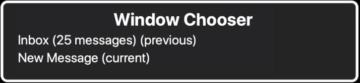 Die Fensterauswahl listet zwei geöffnete Fenster auf.