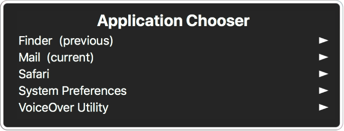 The Application Chooser listing five open applications, including the Finder and System Preferences. To the right of each item in the list is an arrow.