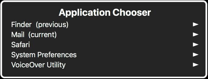 """El """"Selector de aplicación"""" mostrando cinco aplicaciones abiertas, incluido el Finder y Preferencias del Sistema. A la derecha de cada elemento en la lista hay una flecha."""