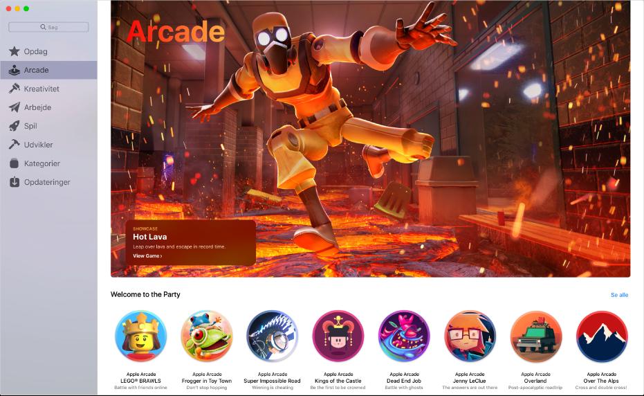 Hovedsiden for Apple Arcade. Klik på Arcade i indholdsoversigten til venstre for at få adgang til den.