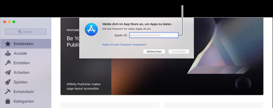 Das Dialogfenster zur Anmeldung beim App Store mithilfe der Apple-ID