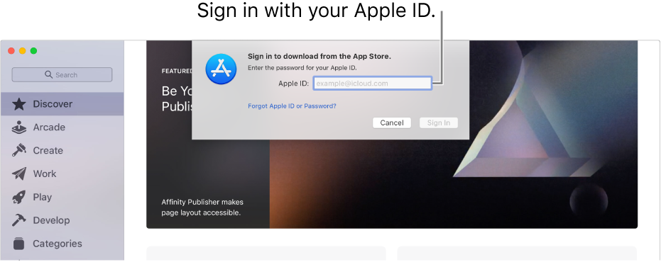 The Apple ID sign in dialogue in App Store.