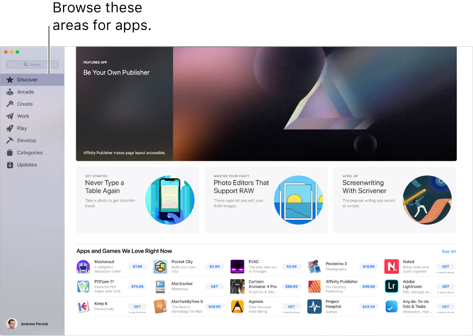 The main Mac App Store page. The sidebar on the left includes links to other pages: Discover, Arcade, Create, Work, Play, Develop, Categories and Updates. On the right are clickable areas including Behind the Scenes, From the Editors, and Editors' Choice.