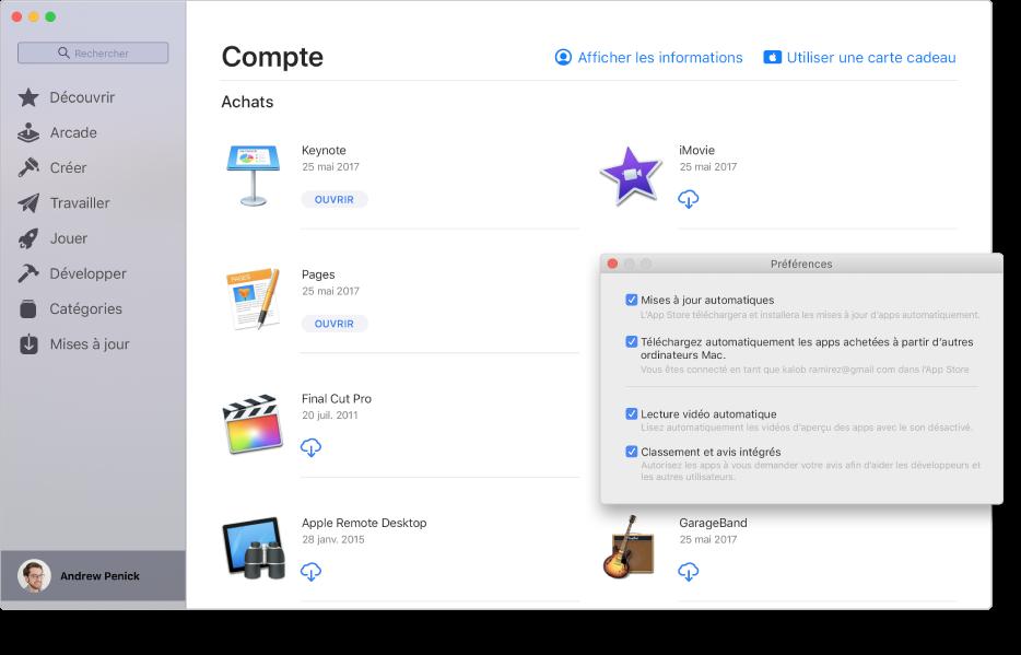 La page Compte du MacAppStore présentant plusieurs apps prêtes à être téléchargées. La sous-fenêtre Préférences de l'AppStore, présentée en superposition dans le coin inférieur droit de la page Compte, dans laquelle les options suivantes sont sélectionnées: «Mises à jour automatiques», «Télécharger automatiquement les apps achetées à partir d'autres ordinateurs Mac», «Lecture vidéo automatique» et «Classement et avis intégrés». Au bas de la sous-fenêtre se trouvent des menus locaux dans lesquels choisir des options de mot de passe pour l'achat d'apps et l'obtention de téléchargements gratuits.