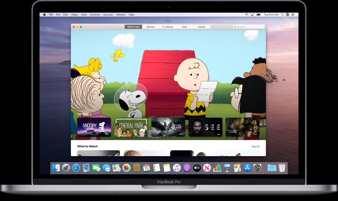 Mac affichant l'app TV