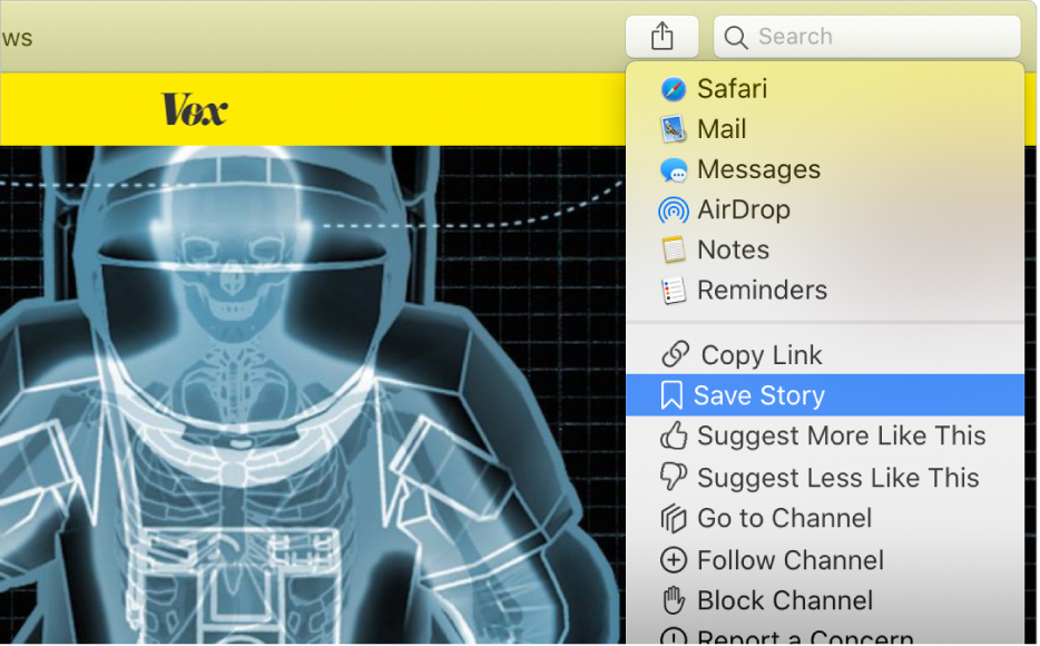 The Apple News window showing the Save Story command selected in the Share button menu.