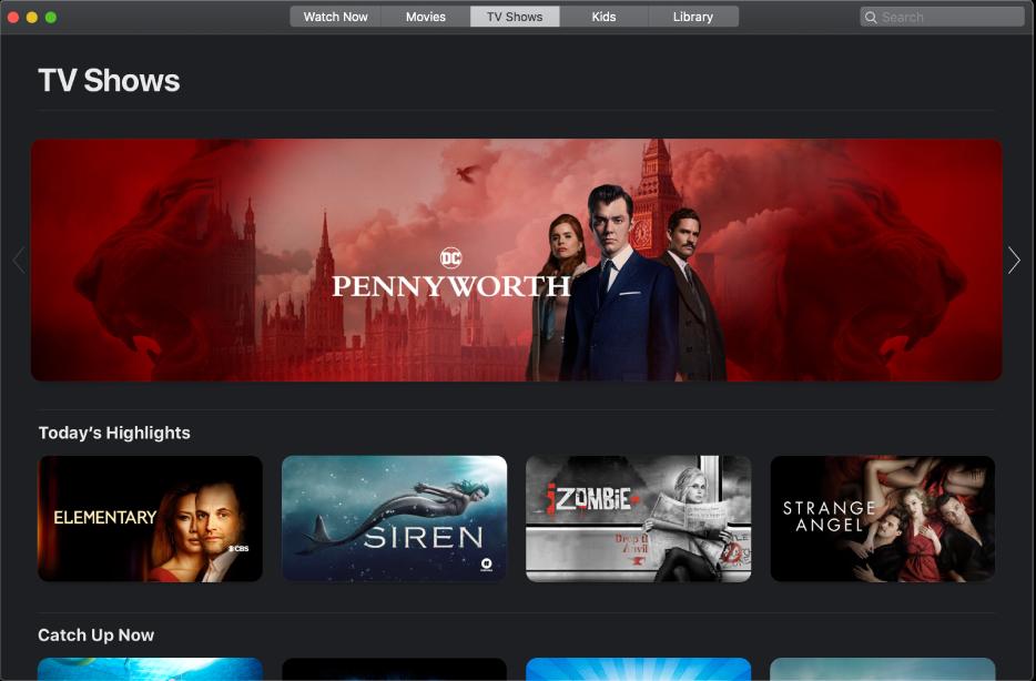 Screen showing TV Programmes