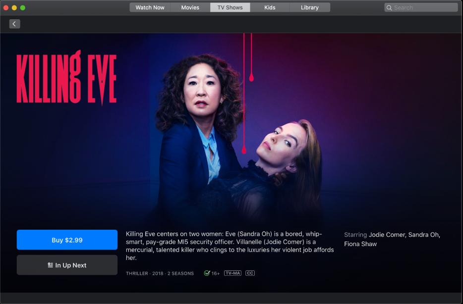 TV show info screen