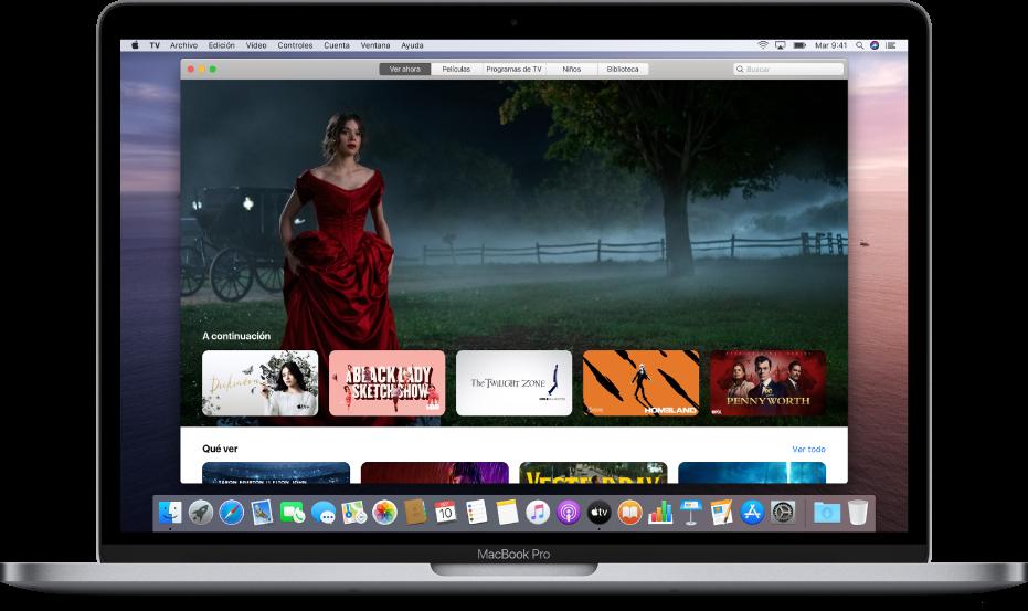 Ventana de la app Apple TV en el fondo.