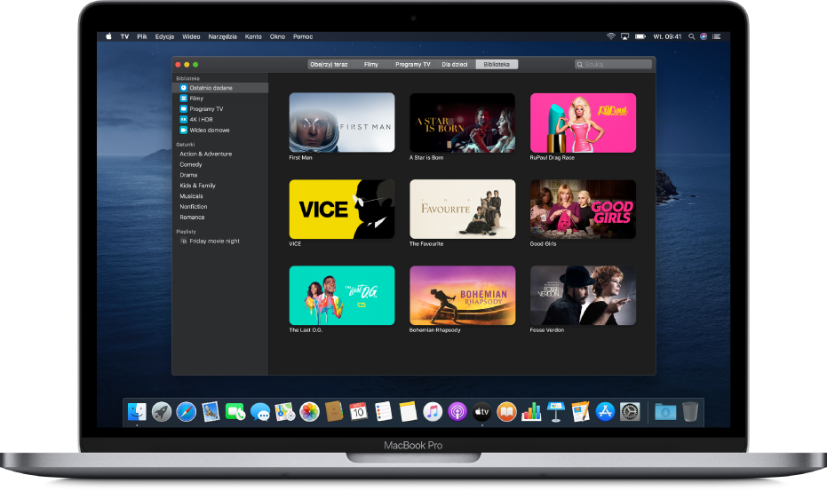 Ekran biblioteki waplikacji AppleTV.