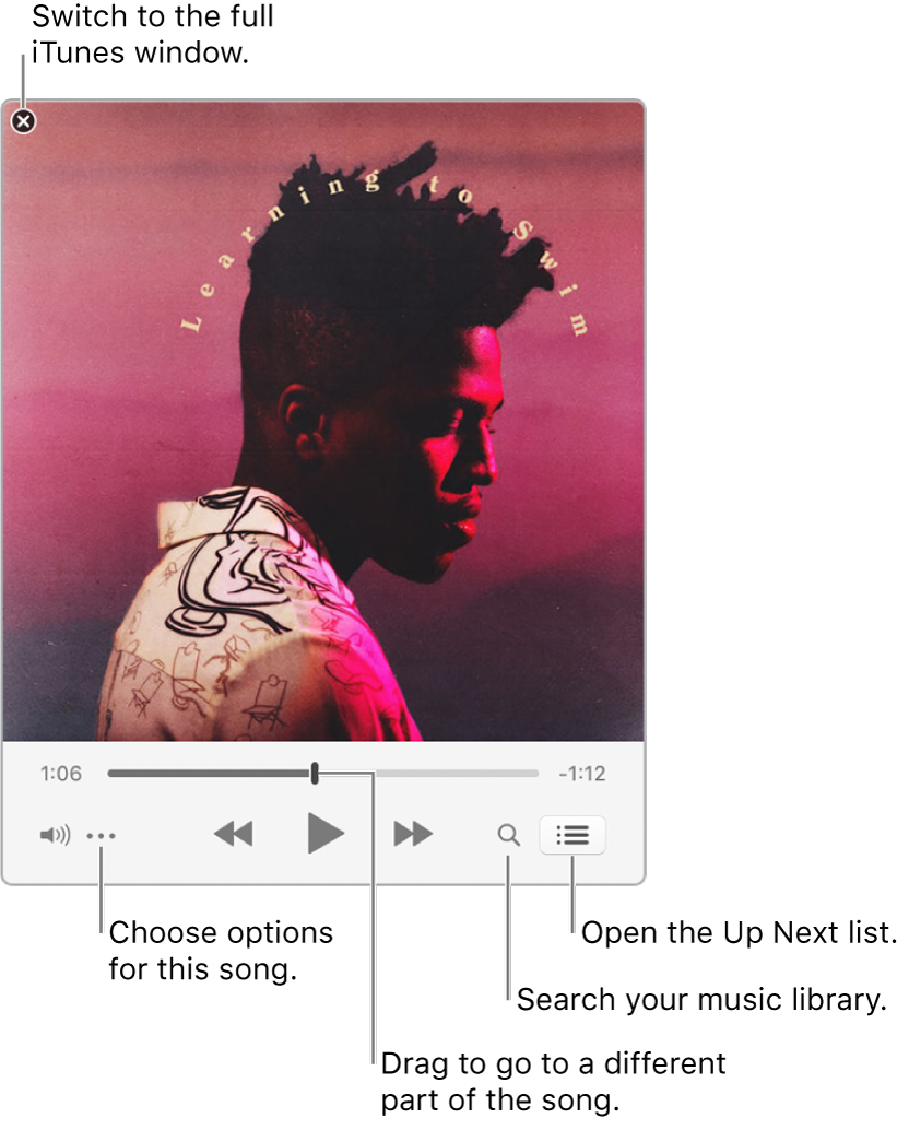 Expanded MiniPlayer showing the controls for the song that's playing. In the upper-left corner is the close button, used to switch to the full iTunes window. In the bottom of the window is a slider, that you can drag to go to a different part of the song. Under the slider on the left side is the Action Menu button, where you can choose view options and other options for the song that's playing. On the far right under the slider are two buttons—the magnifying glass to search the music library, and the Up Next list to see what's playing next.