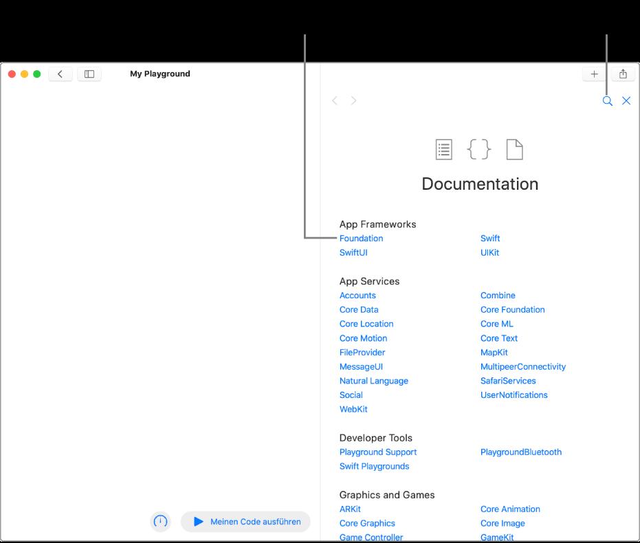 """Eine Playground-Seite und rechts das geöffnete Inhaltsverzeichnis der Entwicklerdokumentation. Sie enthält das Symbol """"Suchen"""" und die Liste der Themen, die du durch Klicken anzeigen und lesen kannst."""