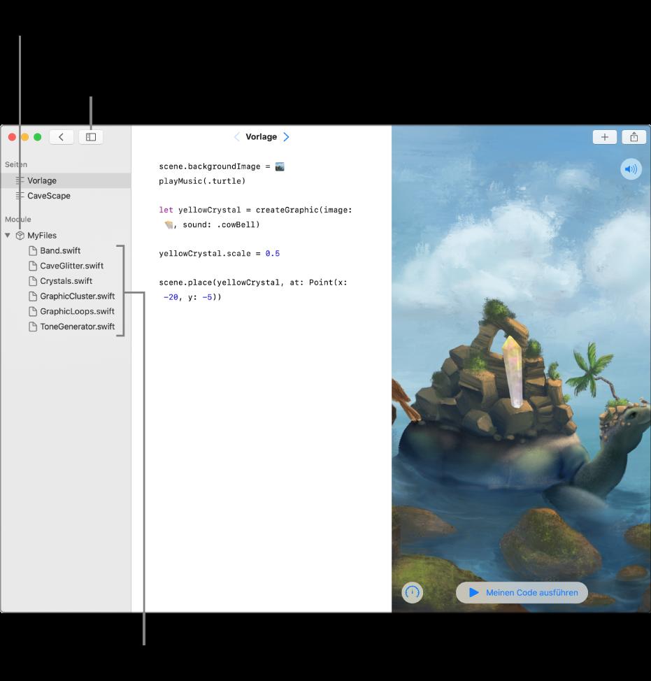 """Eine Playground-Seite mit der geöffneten Seitenleiste und der geöffneten Liste der Module zeigt den Playground an, auf dem sich das Codemodul """"MyFiles"""" befindet. Hier wird auch die Liste der Swift-Dateien im Modul angezeigt."""