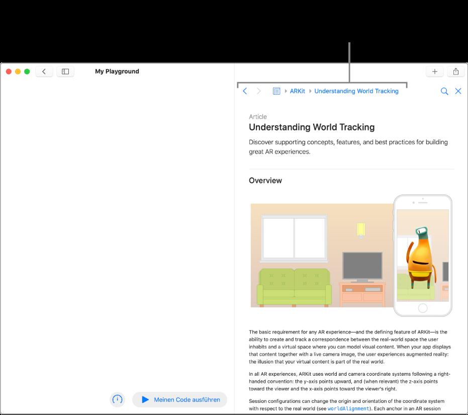 Eine Playground-Seite und ein geöffneter Artikel über ARKit aus der Entwicklerdokumentation. Diese Seite zeigt die Sprungleiste, mit deren Hilfe du entlang deines Suchpfads in der Dokumentation navigieren kannst.