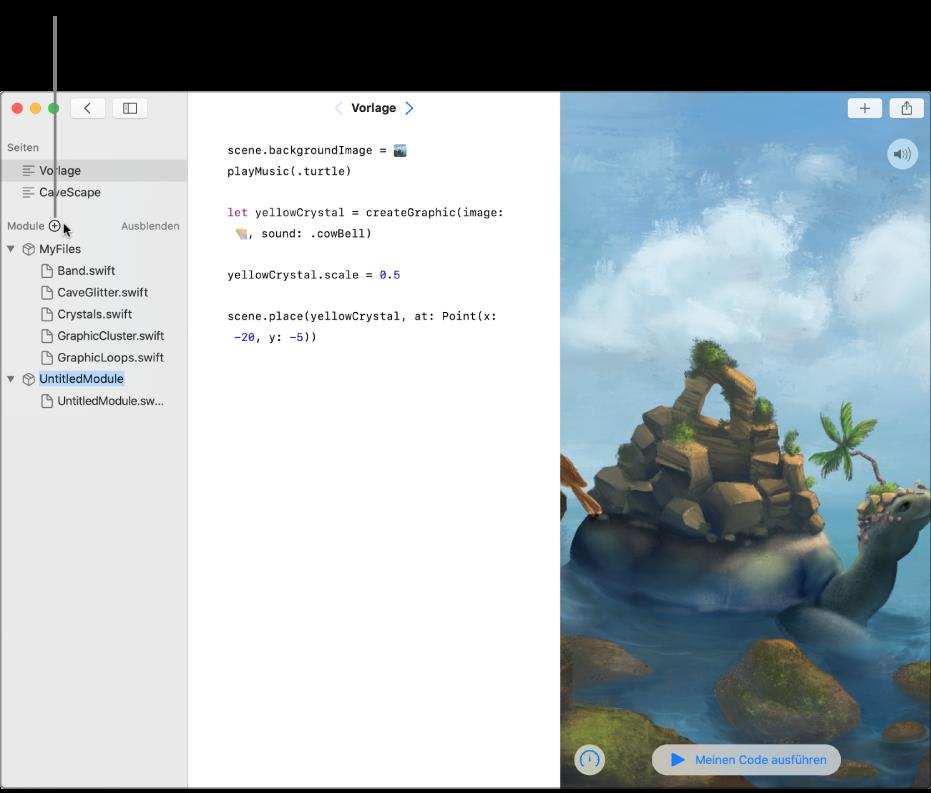 """Eine Playground-Seite und die geöffnete Seitenleiste mit der Liste der Seiten, Module und Swift-Dateien. Im Abschnitt """"Module"""" der Liste wird oben ein Pluszeichen eingeblendet. Durch Klicken auf dieses Pluszeichen kannst du ein Modul hinzufügen. Unten im Abschnitt """"Modul"""" der Seitenleiste ist ein neu hinzugefügtes Modul zu sehen, dessen Platzhaltername """"UntitledModule"""" ausgewählt ist, um ersetzt zu werden."""